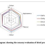Fig 3. Radar diagram showing the sensory evaluation of dried products