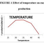 Figure-1 Effect of temperature on enzyme  production